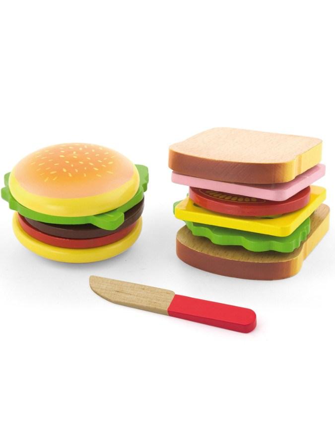 Detská drevená hračka Viga Hamburger a Sendvič