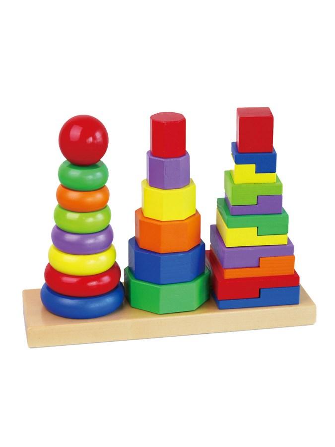 Drevené farebné pyramidy pre deti Viga