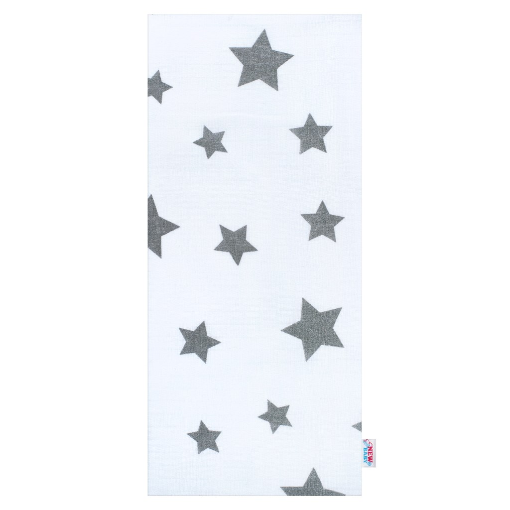 Bavlnená plienka s potlačou New Baby biela so sivými hviezdičkami