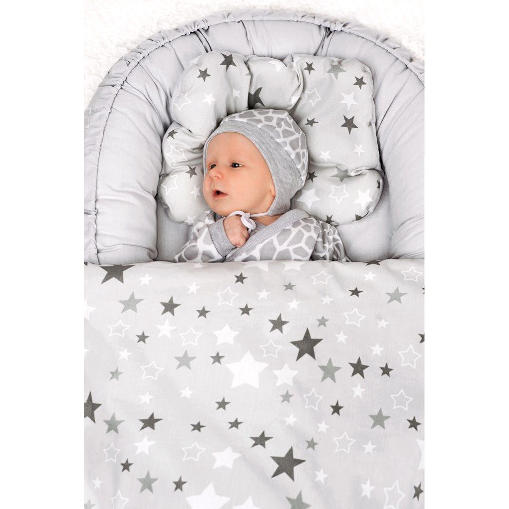 Luxusné hniezdočko s perinkou pre bábätko New Baby bielo-sivé hviezdičky