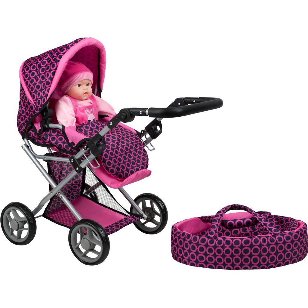 Multifunkčný kočík pre bábiky PlayTo Elsa ružovo-čierny
