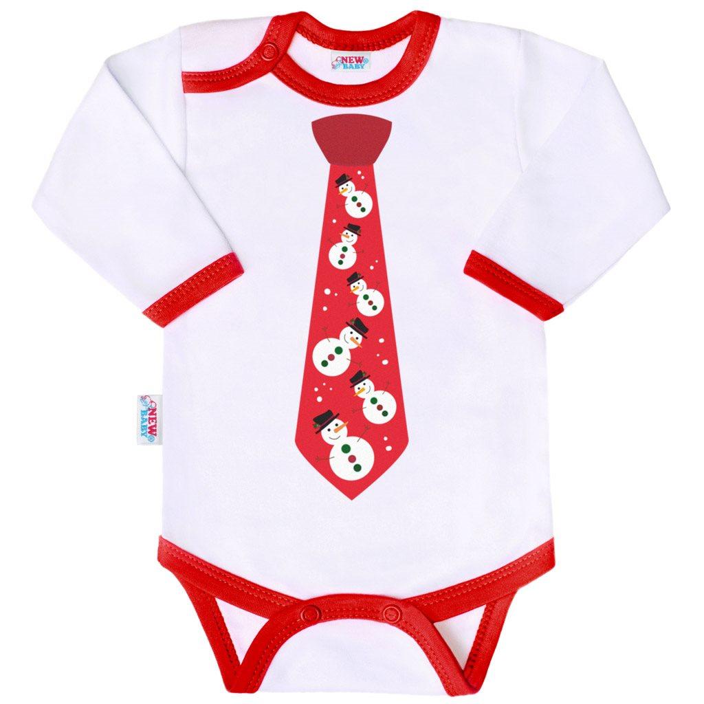 Body s potlačou New Baby s kravatou