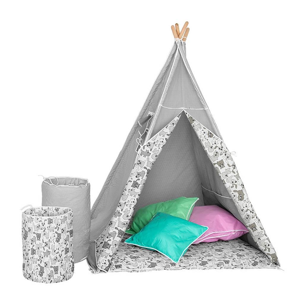 Detský luxusný stan s výbavou Teepee Akuku sivo-biely