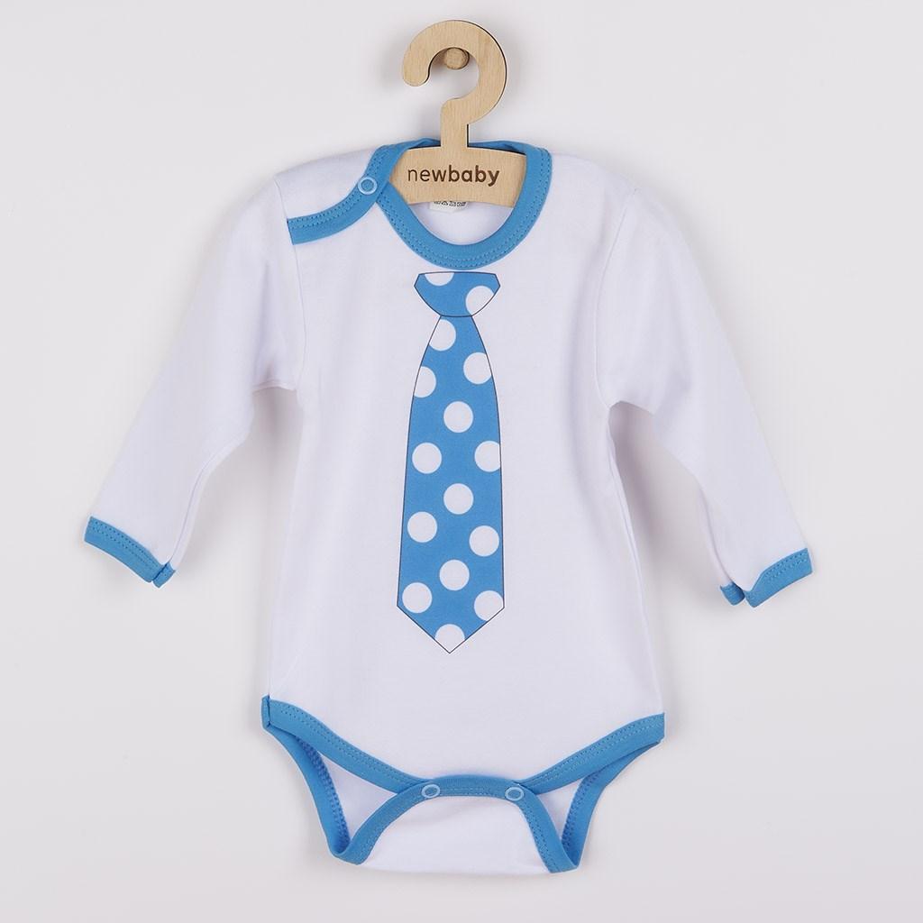Body s potlačou New Baby s tyrkysovou kravatou