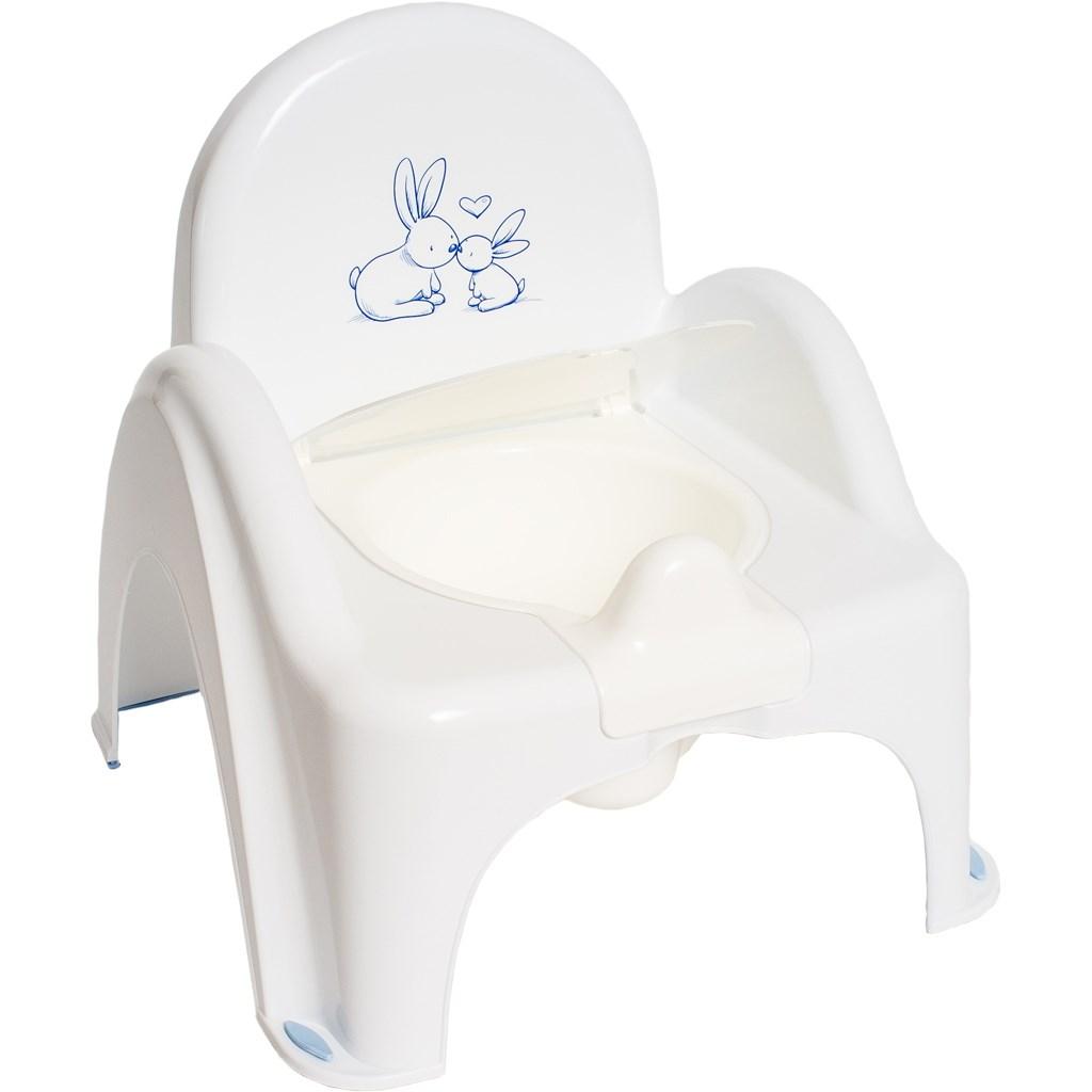 Hrajúci detský nočník s poklopom Bunny biely
