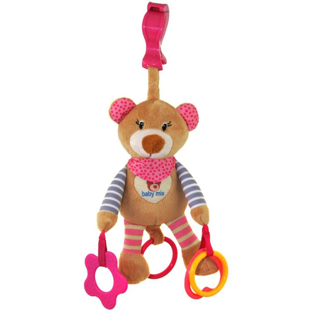 Plyšová hračka s vibráciou Baby Mix medvedík ružový