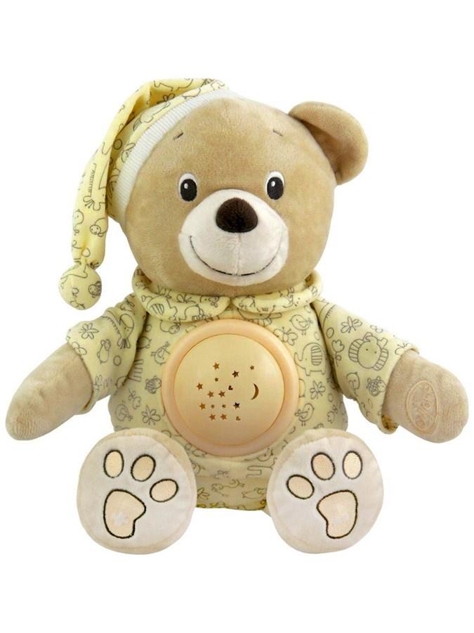 Plyšový zaspávačik medvedík v čiapočke s projektorom Baby Mix krémový