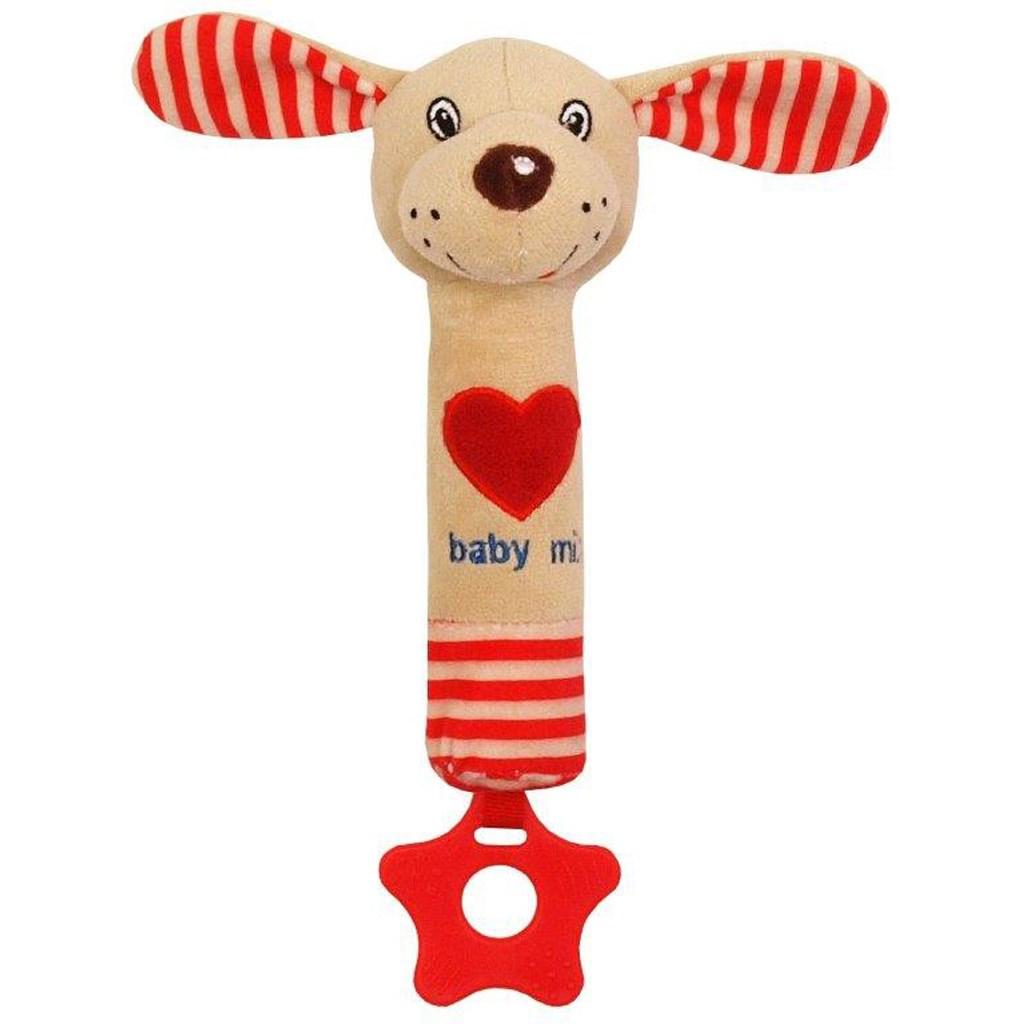 Detská pískacia plyšová hračka s hryzátkom Baby Mix psík červená