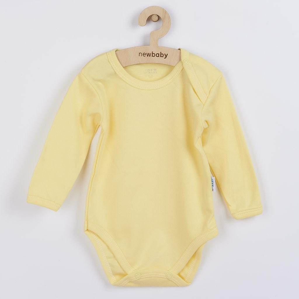 Dojčenské bavlnené body s dlhým rukávom New Baby Pastel žlté