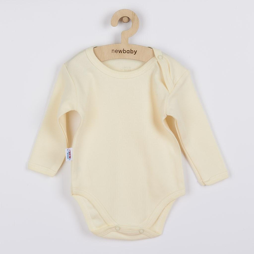 Dojčenské bavlnené body s dlhým rukávom New Baby Pastel béžové