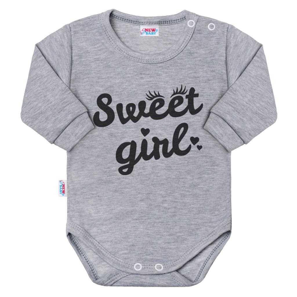 Dojčenské body s dlhým rukávom New Baby Sweet girl sivé