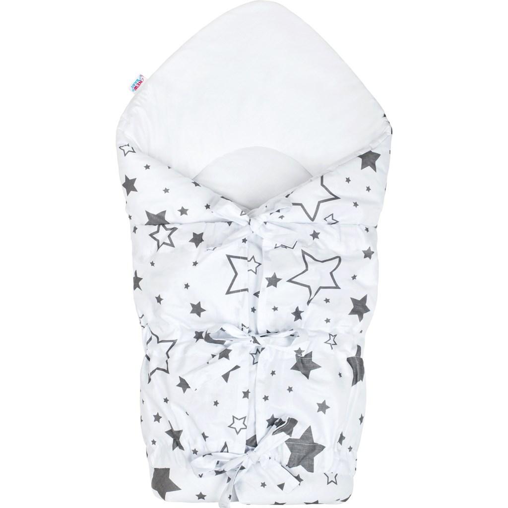 Klasická šnurovacia zavinovačka New Baby biela hviezdy sivé