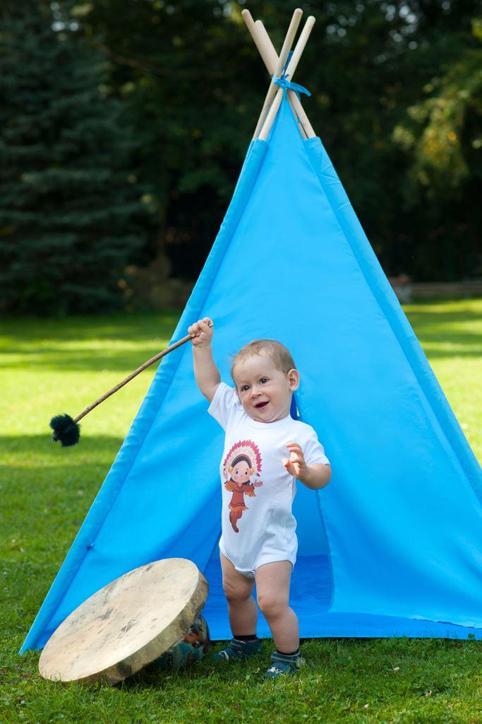 Detský indiánsky stan teepee PlayTo modrý