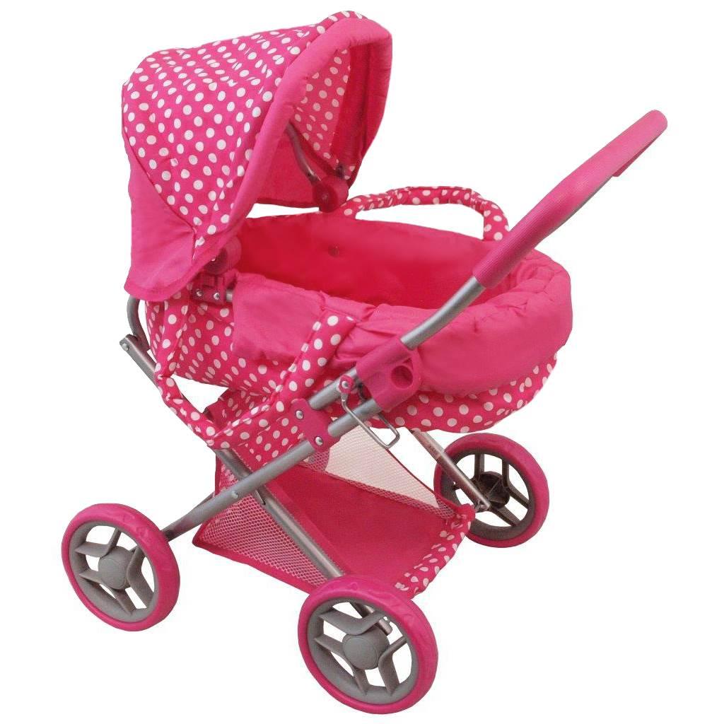 Hlboký kočík pre bábiky Baby Mix bodkovaný ružový