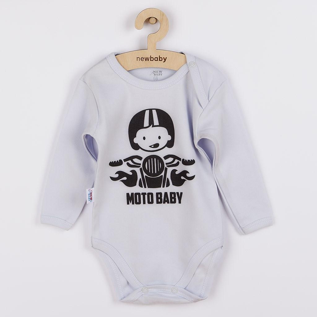 Body s potlačou New Baby Moto baby sivé