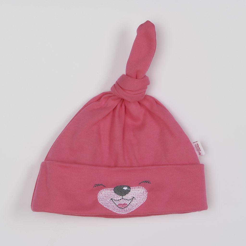 Bavlnená dojčenská čiapočka Bobas Fashion Lucky tmavo ružová