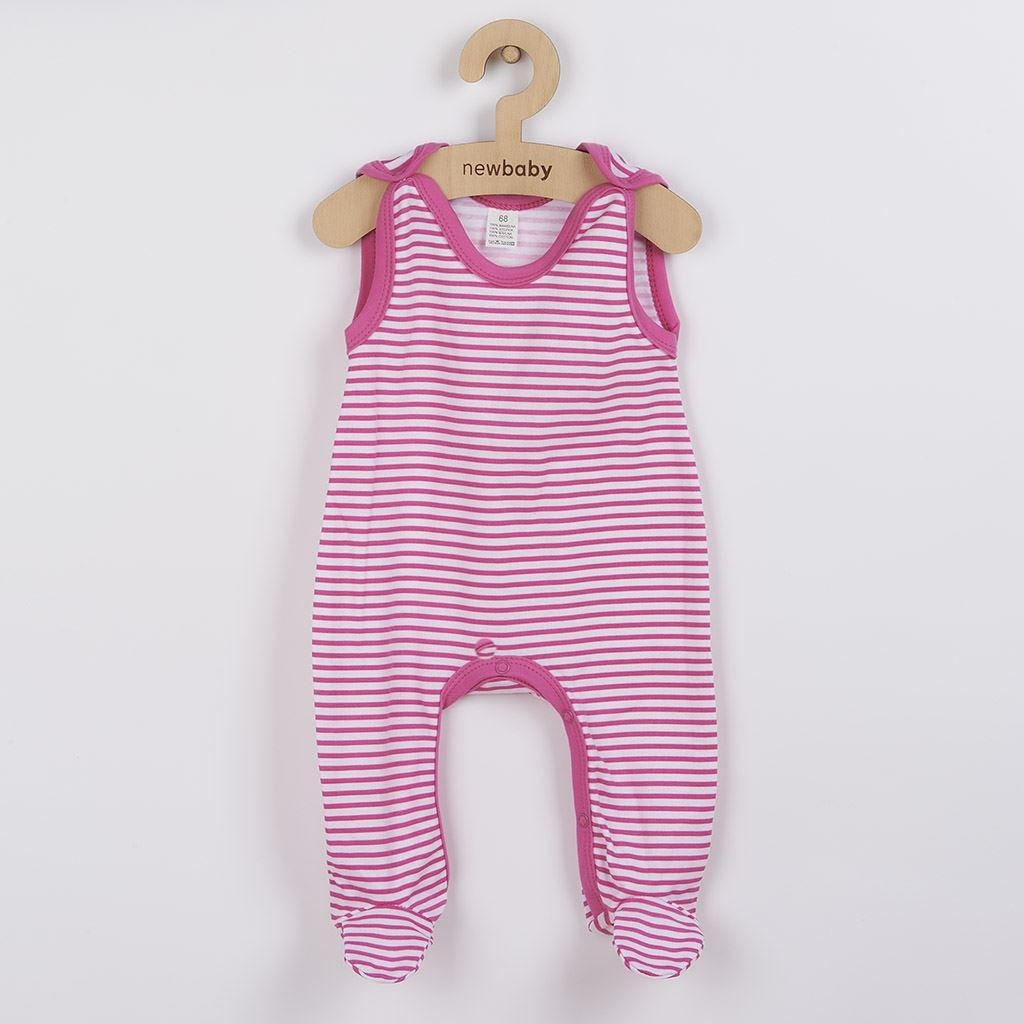 Dojčenské dupačky New Baby Classic II s ružovými pruhmi-68 (4-6m)