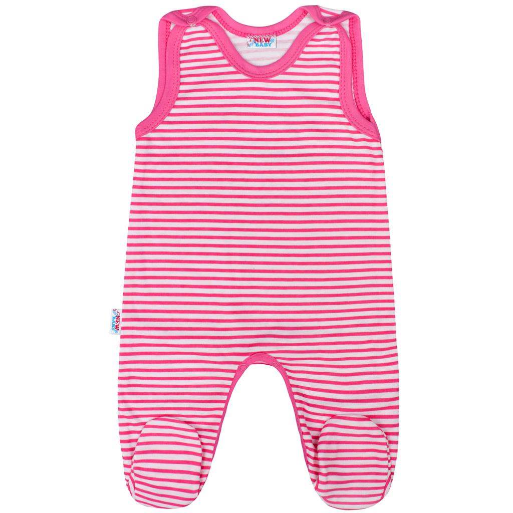 Dojčenské dupačky New Baby Classic II s ružovými pruhmi-86 (12-18m)