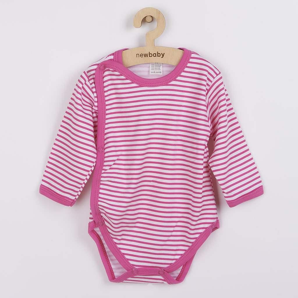 Dojčenské body celorozopínacie New Baby Classic II s ružovými pruhmi