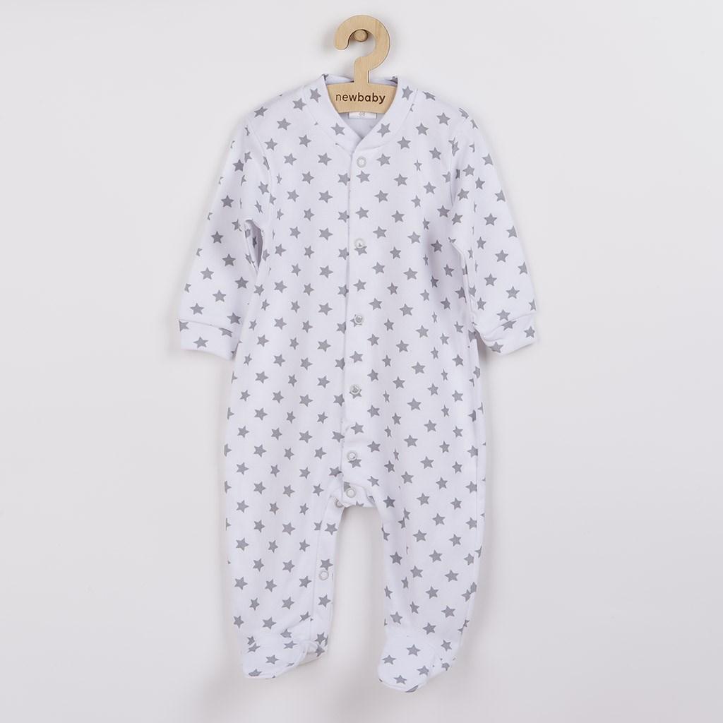 Dojčenský overal New Baby Classic II sivý s hviezdičkami-50