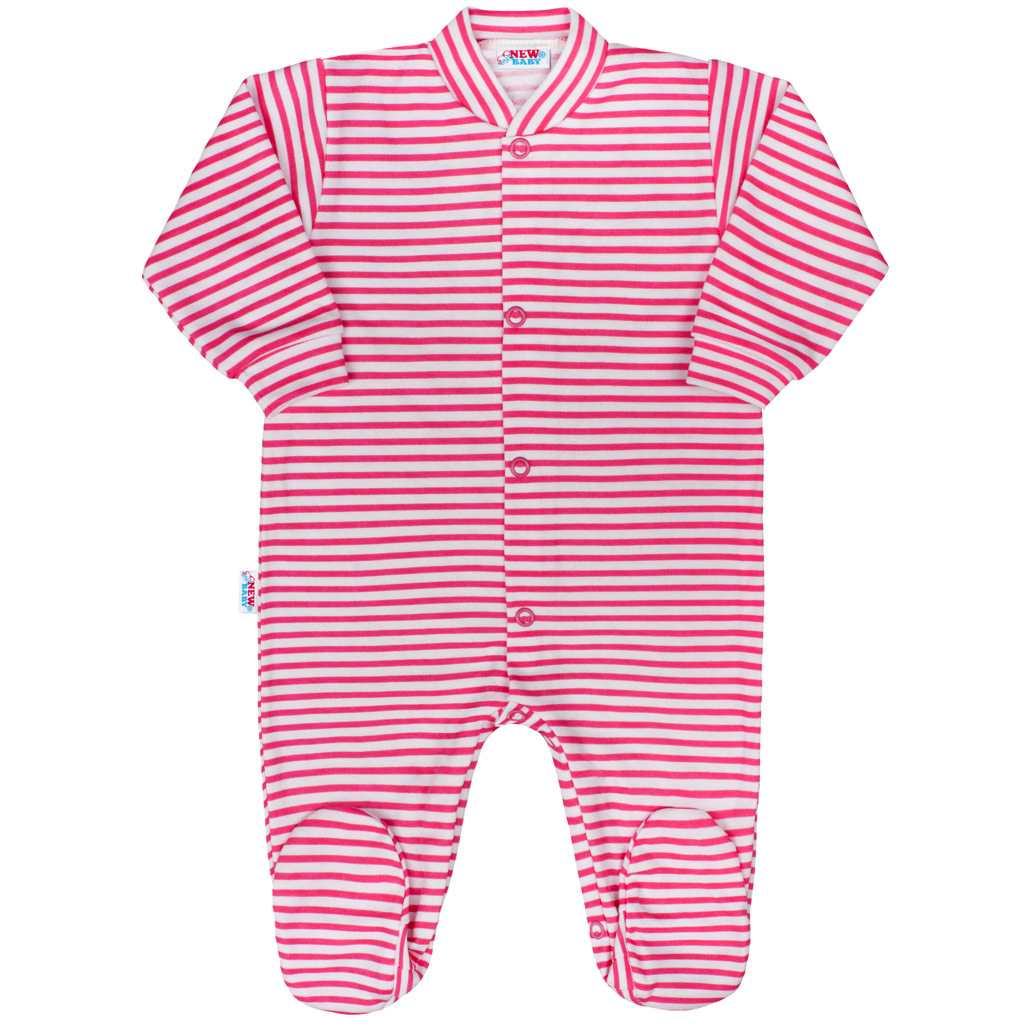 Dojčenský overal New Baby Classic II s ružovými pruhmi-50