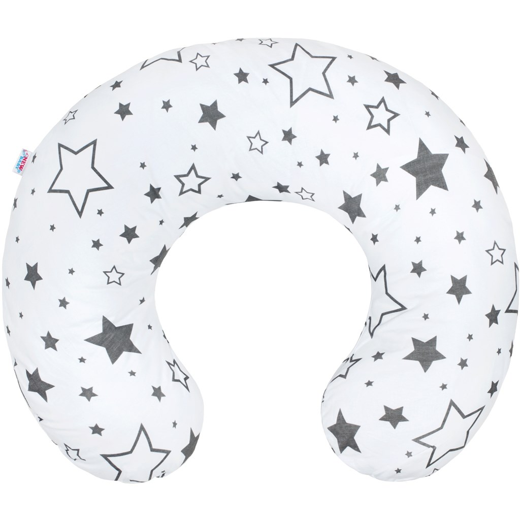 Dojčiaci vankúš New Baby hviezdy sivé