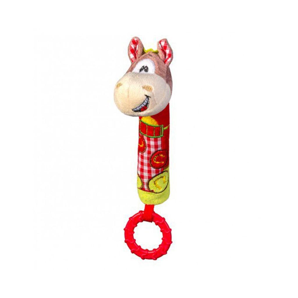 Plyšová pískací hračka s kousátkem Baby Ono koník, Červená