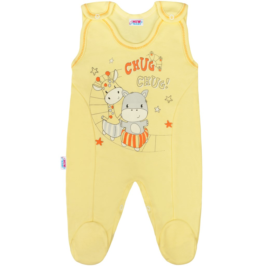 Dojčenské dupačky New Baby chug žlté-80 (9-12m)