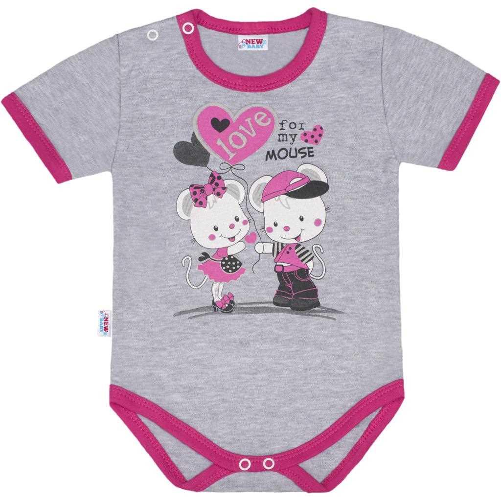 Detské body s krátkym rukávom New Baby Love Mouse