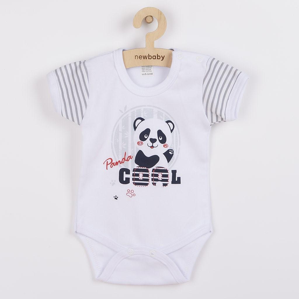 Dojčenské body s krátkym rukávom New Baby Panda Veľkosť: 62 (3-6m)