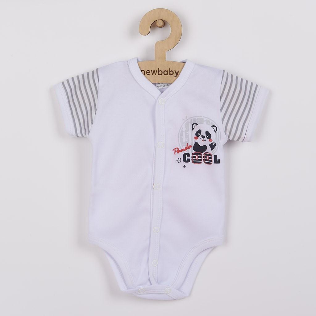 Dojčenské celorozopínacie body s krátkym rukávom New Baby Panda Veľkosť: 56 (0-3m)