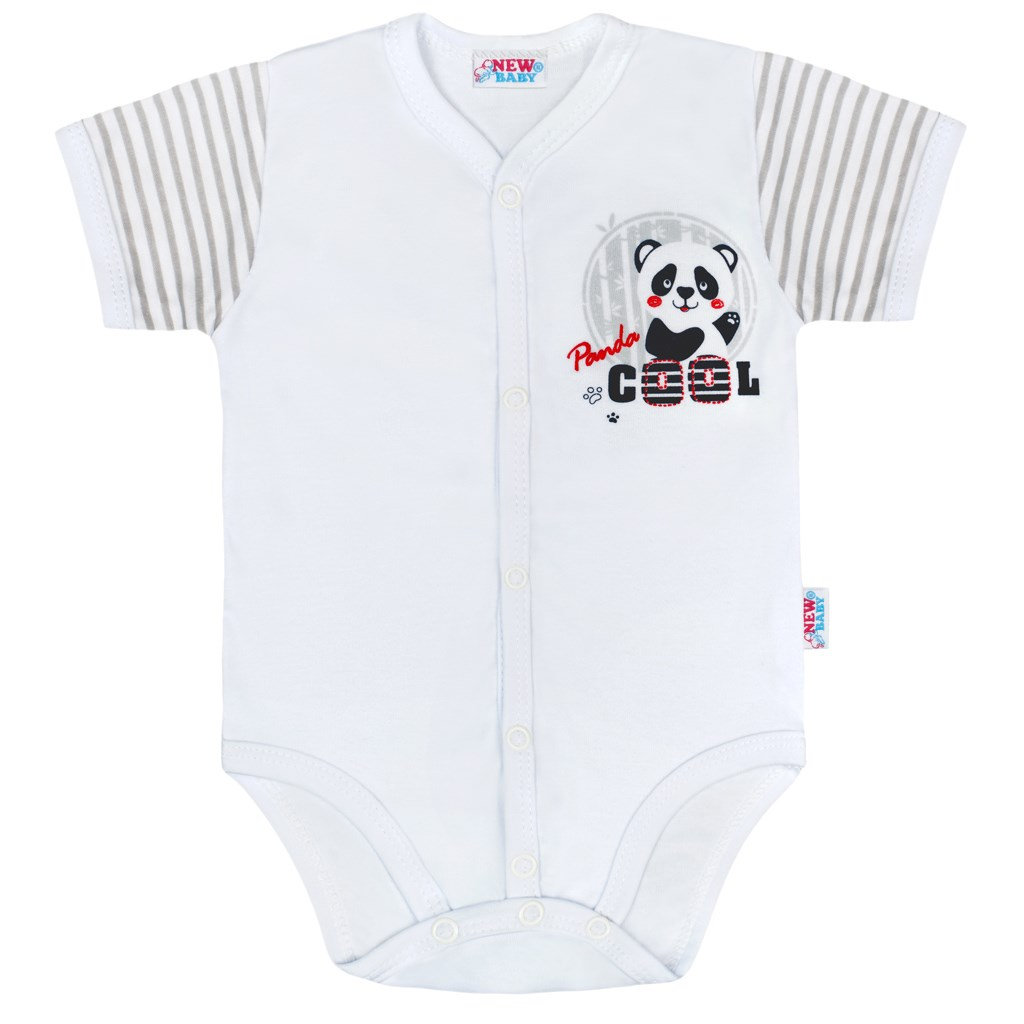 Dojčenské celorozopínacie body s krátkym rukávom New Baby Panda Veľkosť: 62 (3-6m)