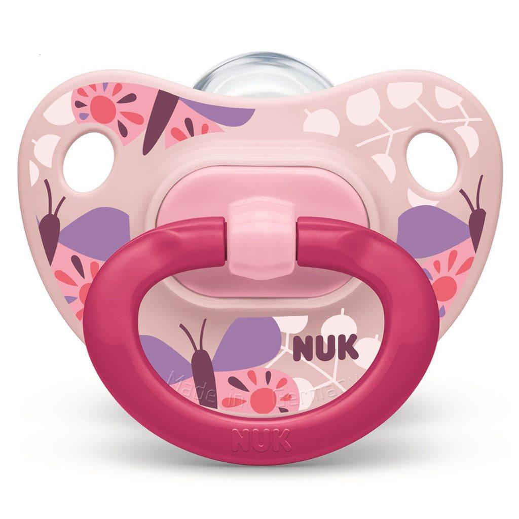 Dojčenský cumlík  NUK Classic Happy Day 18-36m ružový