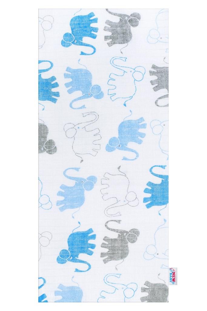 Bavlnená plienka s potlačou New Baby biela so slonami