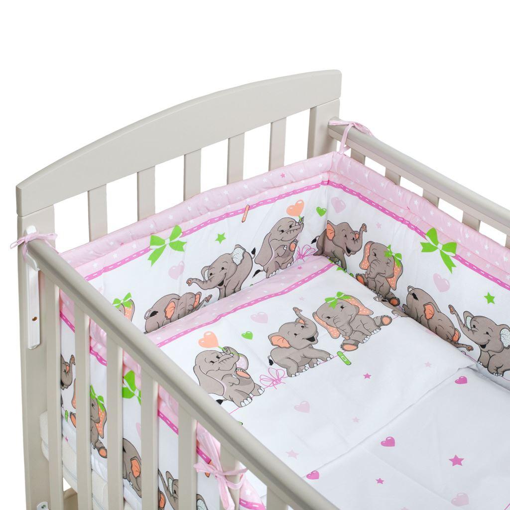 3-dielne posteľné obliečky New Baby 90/120 cm růžové so sloníky