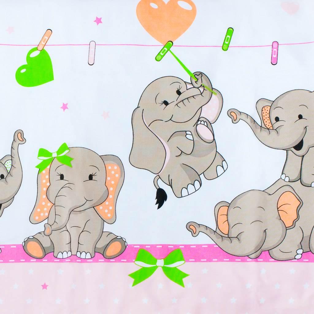 3-dielne posteľné obliečky New Baby 100/135 cm rúžové so sloníky