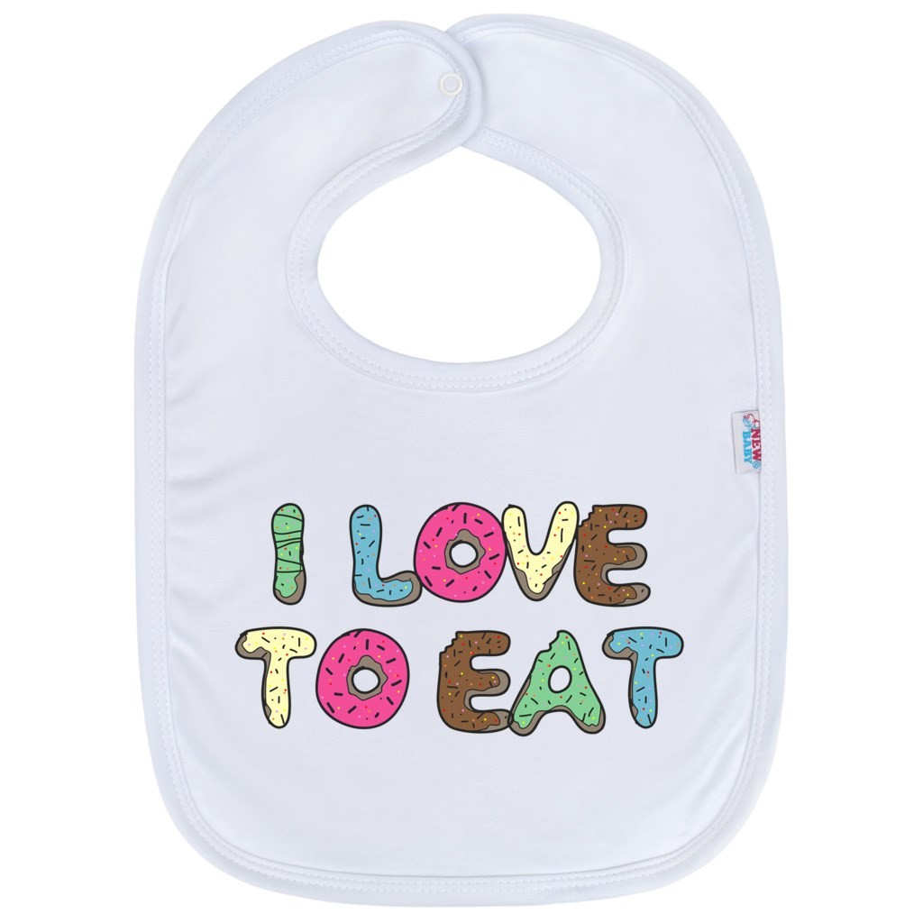 Detský podbradník New Baby I LOVE TO EAT