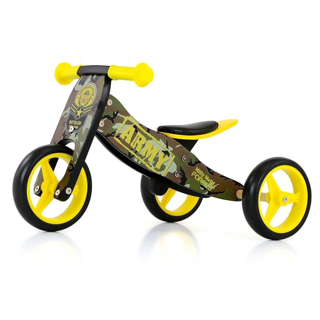 Detské multifunkčné odrážadlo bicykel Milly Mally JAKE Army