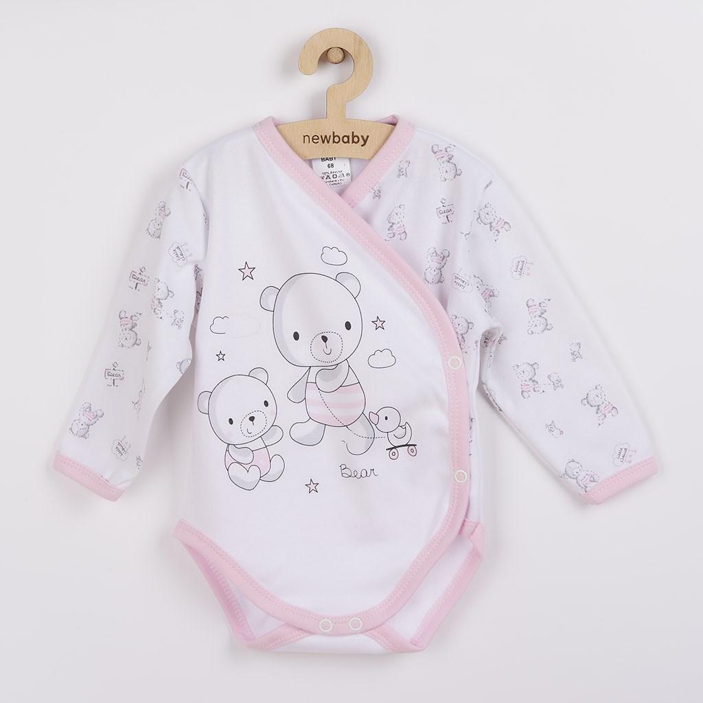 Dojčenské body s bočným zapínamím New Baby Bears ružové