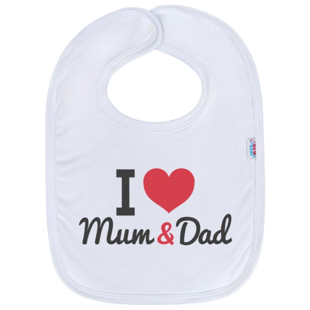 Detský podbradník New Baby I love Mum and Dad