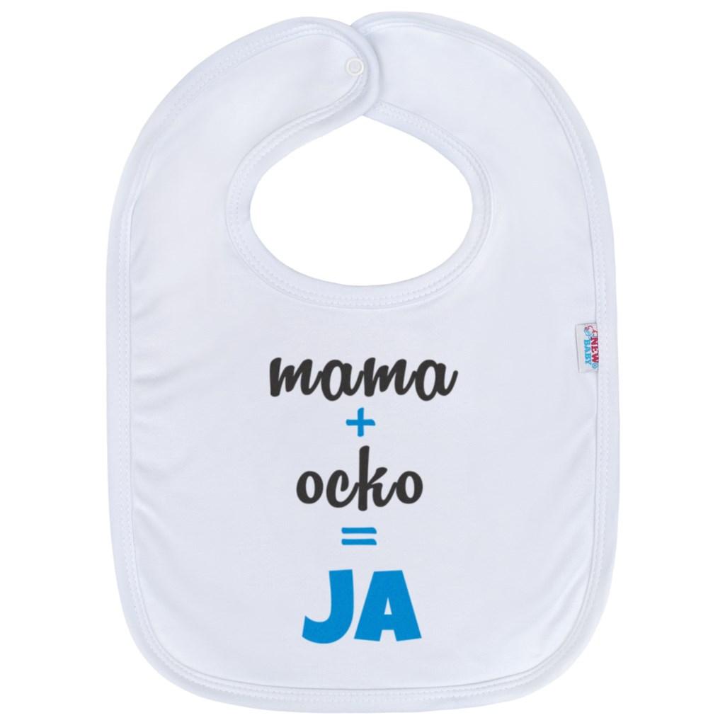 Detský podbradník New Baby máma+táta=JÁ modrý
