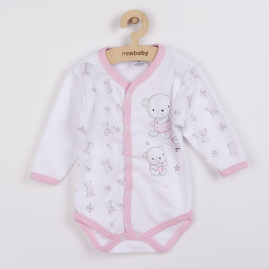 Dojčenské celorozopínacie body New Baby Bears ružové