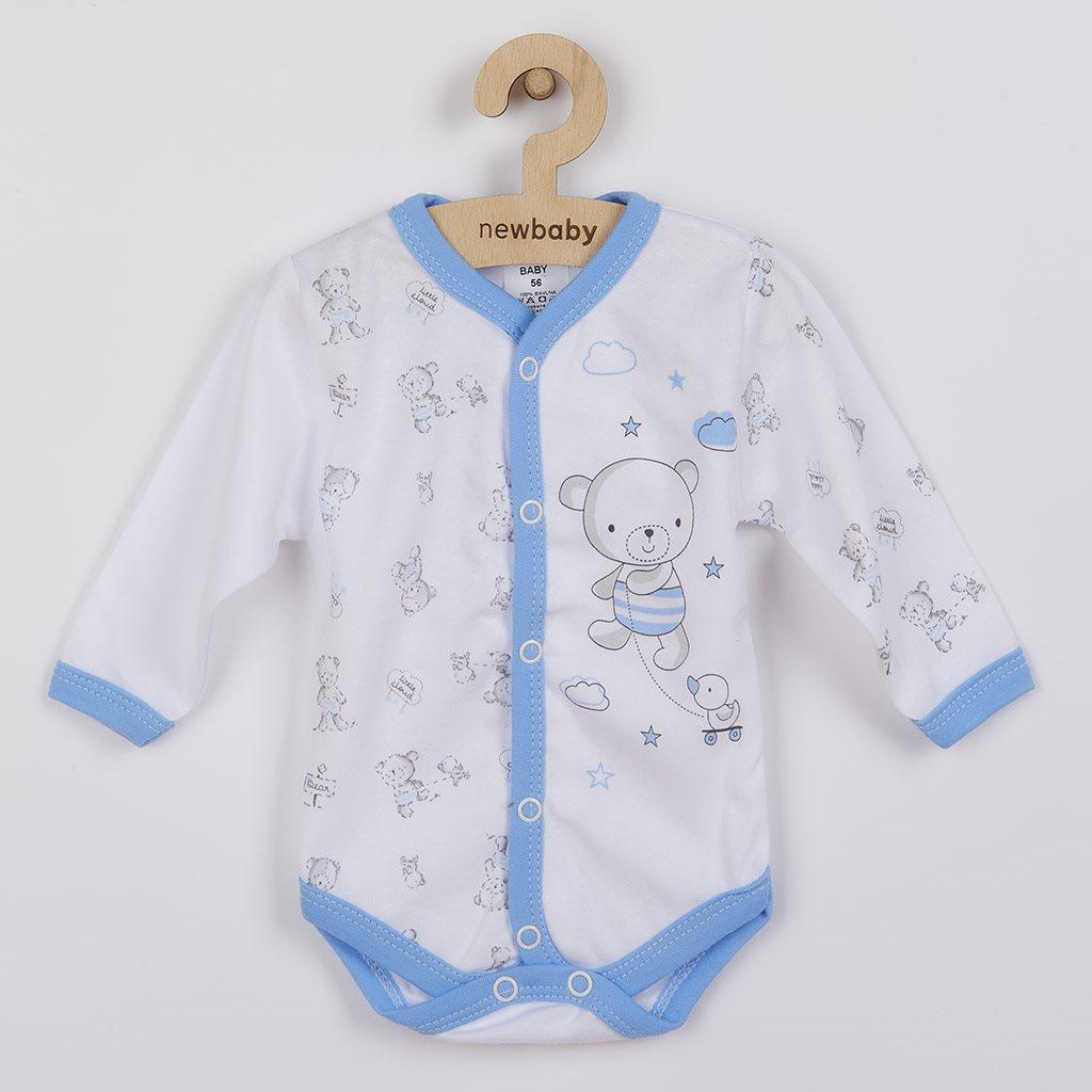 Dojčenské celorozopínacie body New Baby Bears modré