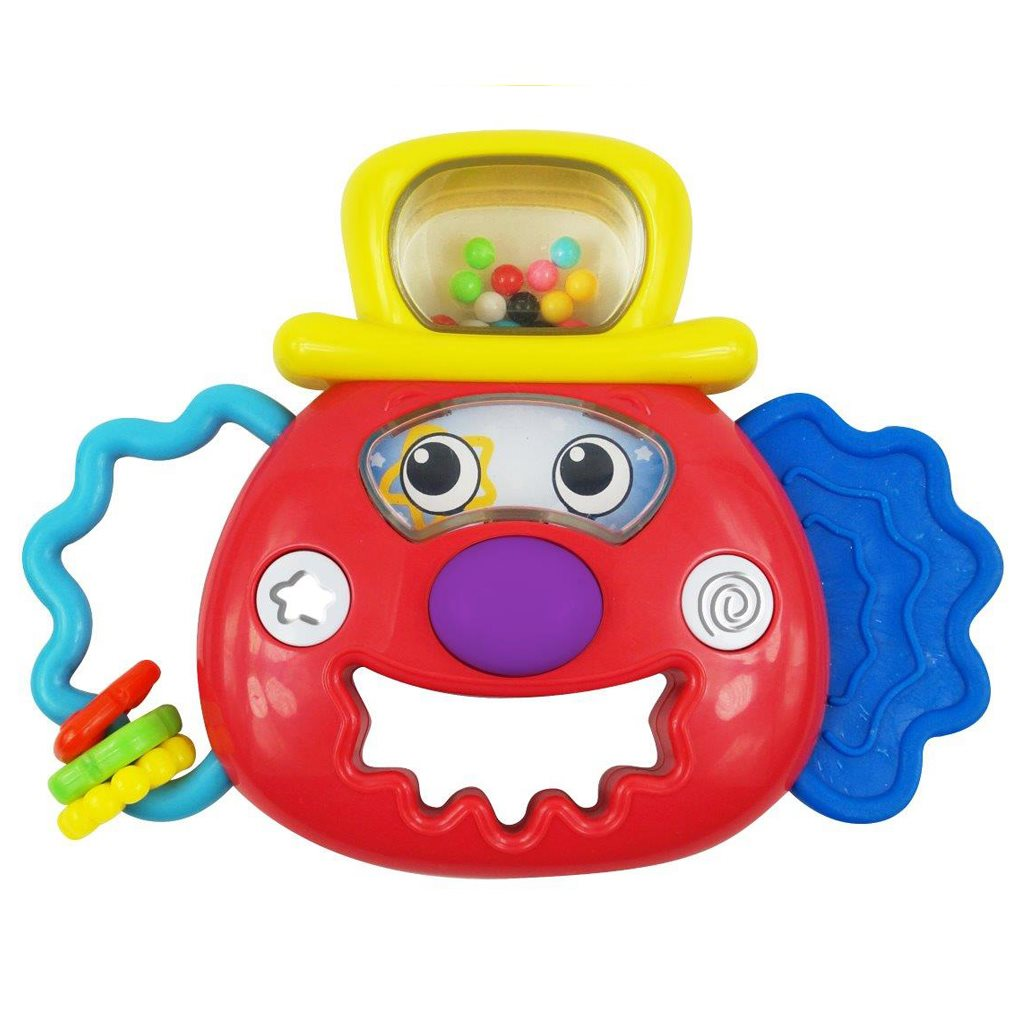Hrkálka Baby Mix so svetielkom klaun červený