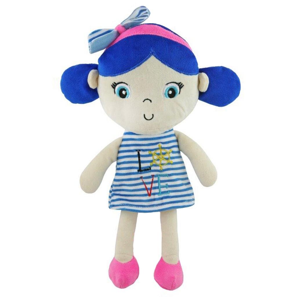 Edukačná plyšová bábika Baby Mix námorník dievča blue