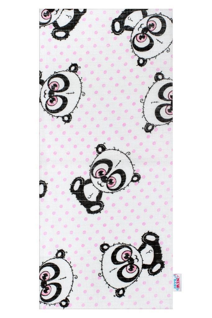 Bavlnená plienka s potlačou New Baby biela panda s ružovou bodkou