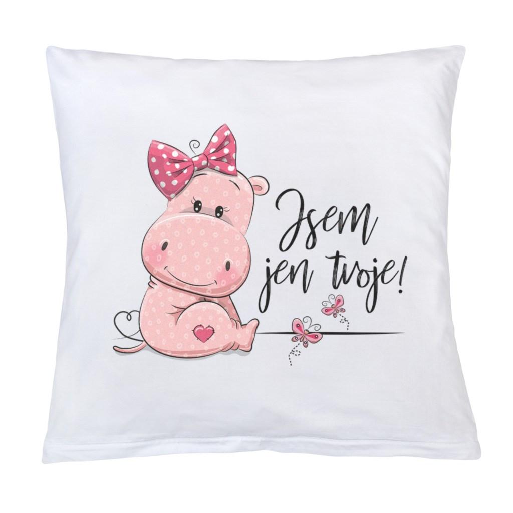 Vankúš s potlačou New Baby Jsem jen tvoje! 40x40 cm ružový