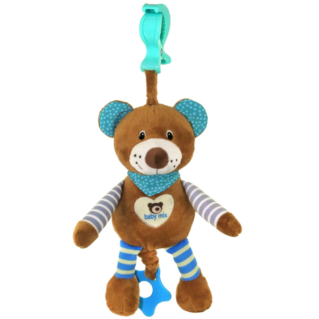 Edukačná hrajúca plyšová hračka s klipom Baby Mix medvedík