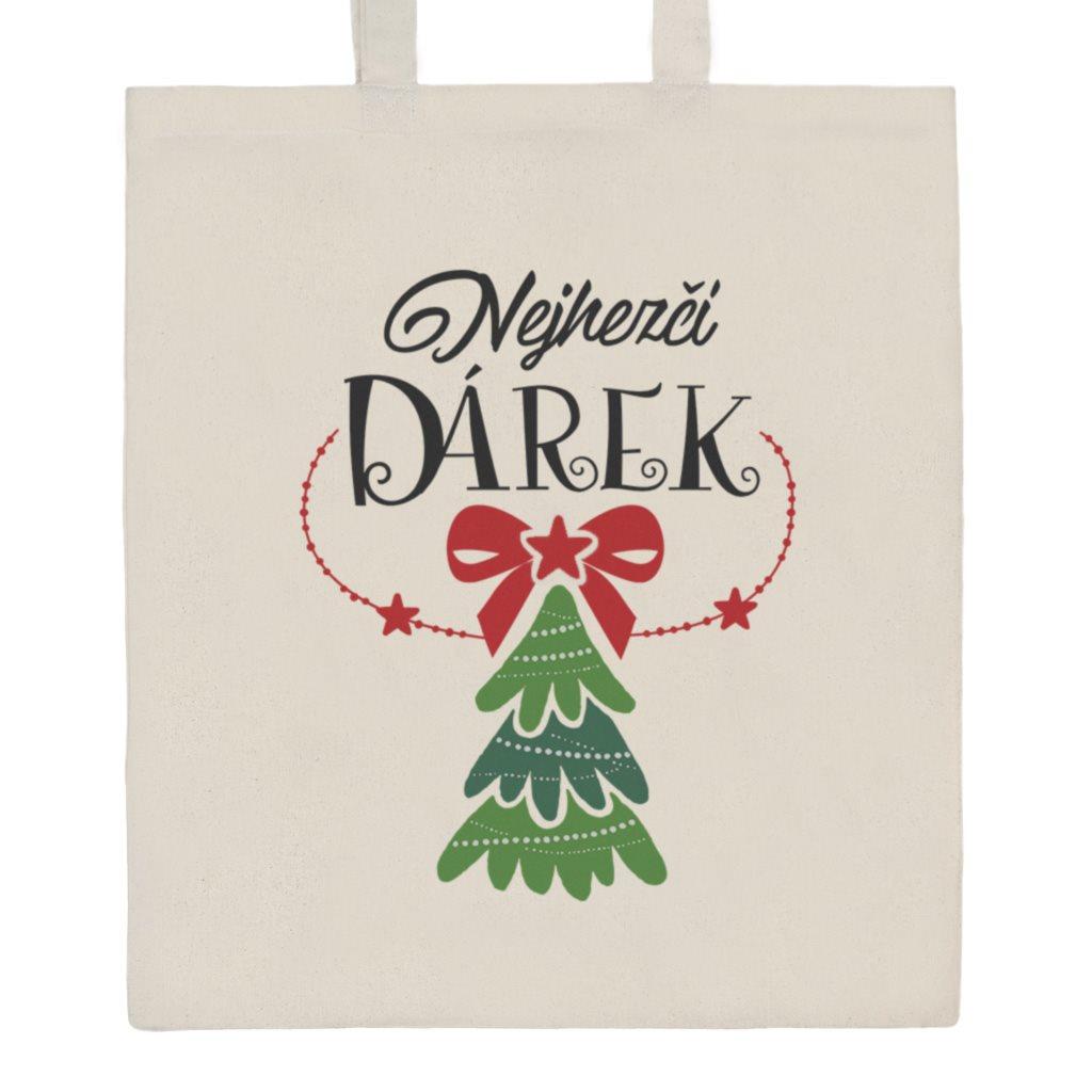 Bavlnená nákupná taška prírodná s potlačou New Baby Nejhezčí DÁREK