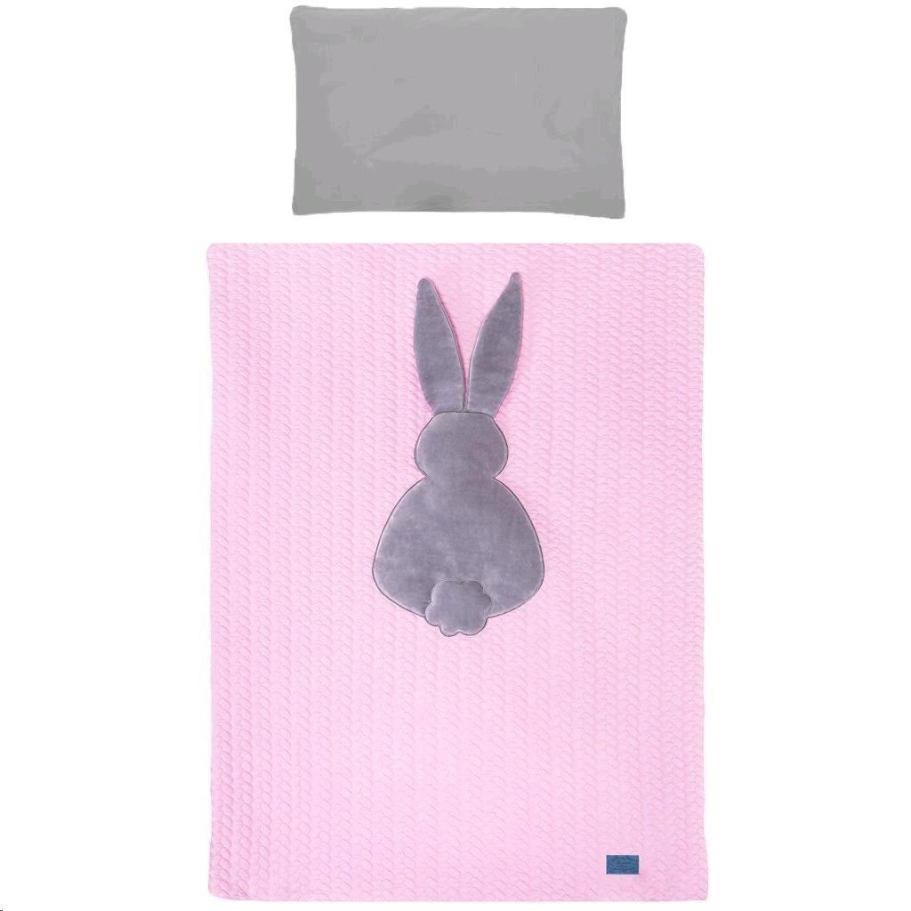 5-dielne posteľné obliečky Belisima Králiček 90/120 ružovo-sivé